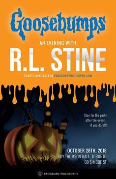 Goosebumps - An Evening With R.L. Stine @ Roy Thomson Hall - 28-October https://www.evensi.ca/goosebumps-evening-stine-roy-thomson-hall/252607762