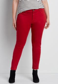 DenimFlex; plus size jegging in fire red On my wish list #wishpinwinsweepstakes #discovermaurices.