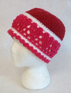 Red and Pink Heart Hat, Ring of Hearts Hat