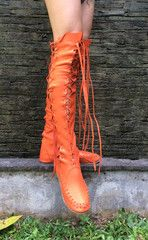 Orange Leather Knee High Boots #gypsydharma #boots