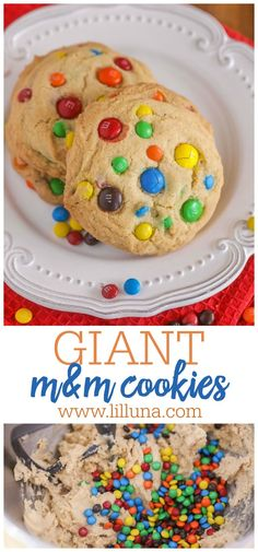 Giant M&M cookies are chewy and delicious. They are basically happiness in cookie form. #giantchewymmcookies #mmcookies #giantchewycookies #cookierecipe #cookies Easy Delicious Recipes, Easy Cake Recipes, Delicious Desserts, Dessert Recipes, Yummy Food, Easy Desserts, M M Cookies, Chocolate Cake Recipe Easy, Recipes