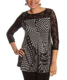 Black & Gray Houndstooth Lace-Sleeve Top - Women & Plus