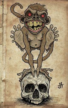 the-last-screaming-lamb: by Jared Gagne - Tɦє Lσst βσy Graffiti Drawing, Graffiti Lettering, Graffiti Art, Art And Illustration, Tattoo Design Drawings, Art Drawings Sketches, Badass Drawings, Monkey Tattoos, Monkey Art