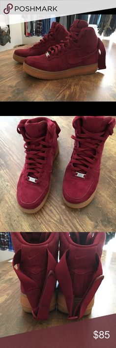 Maroon Air Force 1 High Size 8.5 in WOMENS. I bought these from another seller who advertised them as an 8 and I accepted the transaction before even noticing- lesson learned lol my loss is your gain. I wish these fit so badly I LOVE them. Gum soles. Suede upper. Message me with offers- no balling please :) Nike Shoes Sneakers