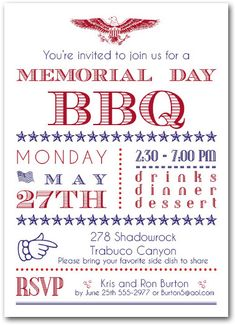 of July Invitations: Memorial Day BBQ Party Invitations Patriotic Party, 4th Of July Party, 4th Birthday Parties, Fourth Of July, 50th Party, Birthday Ideas, Birthday Party Invitation Wording, Invitation Layout, Invitation Flyer