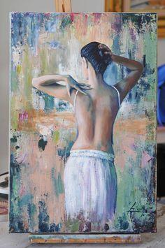 Pintar con espatula y acrilicos - Figura Humana - Pintar sobre Bastidor