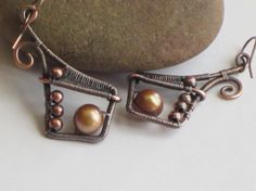***Copper with Pearl Earrings