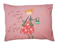 """Punaruutu tyynyliina naiskuvalla """"Mie oon antiikkine tyttö eli mummo"""""""