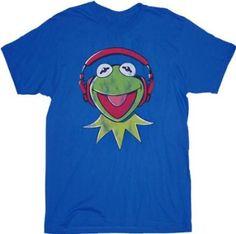 fca2023f0 Amazon.com: The Muppets Kermit DJ Headphones Blue Adult T-shirt Tee (Adult  XX-Large): Clothing