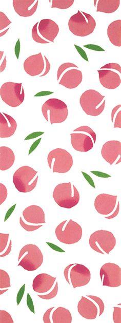Japanese washcloth, Tenugui 手ぬぐい 桃 Peachs                              …