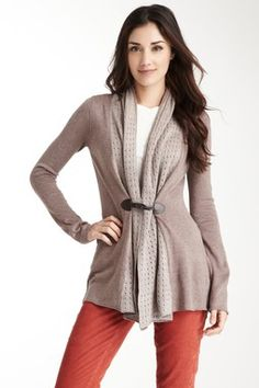 Pointelle Collar Toggle Sweater