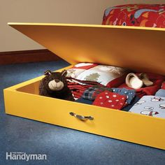 put under-bed space to use with a rollout storage chest. you can make it from a single sheet of 1/2-in. plywood on a saturday morning.