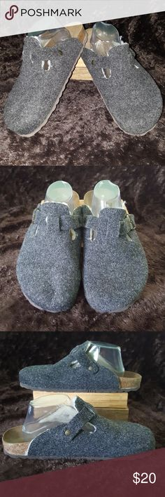 American Eagle Gray Women's Clogs Size 11 Up for your consideration is this pair of wool clogs for women, size 11 in the US or 44 in Europe. The soles top is leather and the rest cork with rubber bottom.  Very nice condition.  I try my best to describe my items but please refer to pictures for more accurate information on condition and description. American Eagle Outfitters Shoes Mules & Clogs