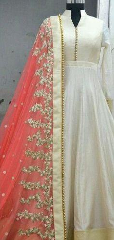 New White Designer Anarkali Salwar Suit