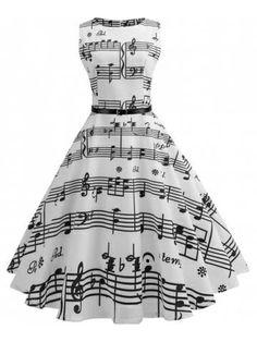 White Music Note Swing Dress – Retro Stage - Chic Vintage Dresses and Accessories Cute Prom Dresses, Pretty Dresses, Beautiful Dresses, Summer Dresses, Formal Dresses, Elegant Dresses, Sexy Dresses, Prom Gowns, Homecoming Dresses