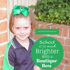 Gorgeous Isla is wearing our Charlie Boutique Bow in emerald green with her Aussie school uniform. Isn't she lovely!