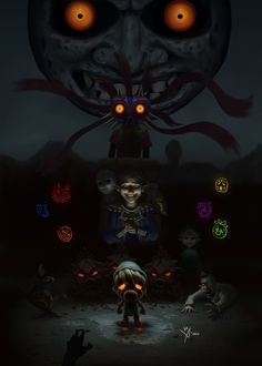 Halloween Video - Zelda : Majora's Mask by on DeviantArt The Legend Of Zelda, Legend Of Zelda Breath, Malon Zelda, Majora Mask, Zelda Tattoo, Halloween Gif, Link Zelda, Breath Of The Wild, Dope Art