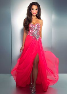 Stunning Hot Pink Beaded Prom Dress - Cassandra Stone by Mac Duggal 85158A - RissyRoos.com