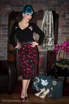Black Cherry Tattoo Rockabilly high waist skirt by MissHapp, $38.00