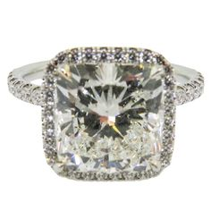 Stunning GIA Cert Cushion Cut Diamond Platinum Engagement Ring   From a unique collection of vintage bridal rings at https://www.1stdibs.com/jewelry/rings/bridal-rings/