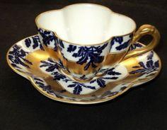 Antique Coalport England Royal Blue Gold Demi Tea Cup and Saucer