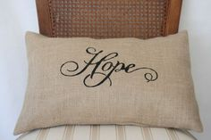 Burlap pillow case with stencil word Hope 12x18 by livycreation