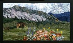"""El Rancho Pinoso is a 25 by 42 Landscape Art Quilt. A guest fishing and hunting ranch """"El Rancho Pinoso"""" which is near the Pagosa Springs CO has the beauty that is unmatched."""