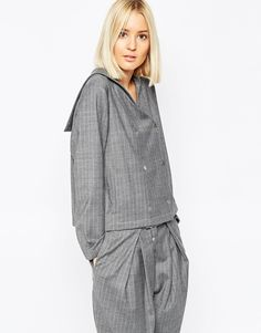 28564040af ASOS WHITE Sailor Boxy Jacket in Pinstripe Latest Fashion Clothes