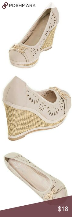 """Women Wedge Espadrilles, HW-1674, Beige Brand new Tory Klein woman gorgeous espadrilles with a stylish buckle in the front. Platform measures 4"""". Beautiful perforates design, cushioned sole, very comfortable. A true statement in ladies shoes fashion! Tory K  Shoes Espadrilles"""