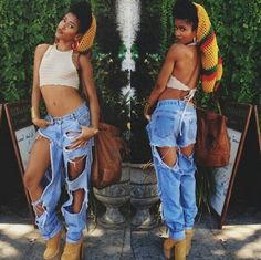 Cut Up Denim Jeans (Simone Battles)