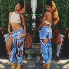 Cut Up Denim Jeans (Simone Battles)
