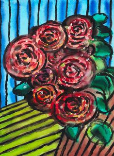 """""""Roses"""", watercolour on paper, 30 x 40 cm Red Roses, Watercolour, Paintings, Paper, Painting Art, Pen And Wash, Watercolor Painting, Paint, Watercolor"""