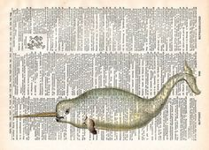 Vintage Book Print - Narwhal Sea Monster - Upcycled Recycled Antique Book Print - Nautical Animal Whale Print