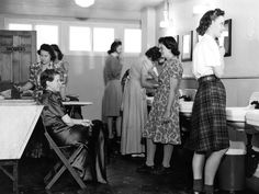 The washroom at Willow Run's West Lodge offered facilities for washing and ironing clothes. The women came from varied backgrounds: They were teachers, waitresses, housewives. They worked on the line doing riveting, light assembly or as inspectors or trainers.  The Detroit News archives