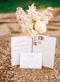 Formal gold invitations, so classic! | Photography: Jen Lynne Photography - jenlynnephotography.net  Read More: http://www.stylemepretty.com/2014/06/20/blush-gold-orchard-wedding/