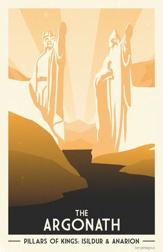 Middle Earth Travel Posters by Benjamin Magnus