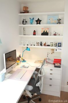 This L shaped bespoke desk was built into an alcove in a London house, we re used the drawers from a desk we took out on the other side of the room in order not to waste it and we fitted new drawer fronts. Above the desk are fitted floating shelves and we also fitted a magnetic metal notice board cut to size to fit exactly. www.Empatika.uk