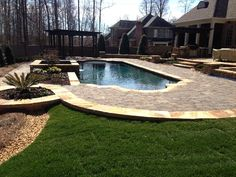 Concrete Pool Photos - geometric pool design with raised spa, pool landscaping, pool decking pavers