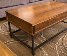How to make a coffee table with a lift top mechanism and aluminum legs. The lift-top allows for bringing the table up to perfect height for dining in ...