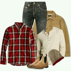 Red plaid button down paired with off white thermal under a tan corduroy jacket. Casual outfit for fall Temple mens wear casual outfit thermal winter clothes college red
