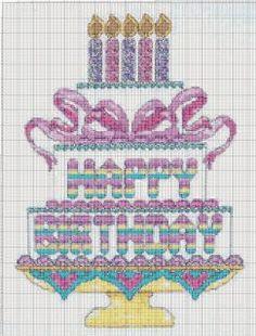birthday cake cross stitch