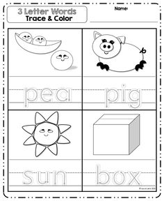 Read, trace and color worksheets for 24 basic 3 letter words. Great for beginner writers.