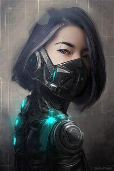 Concept Art Cyber warrior on