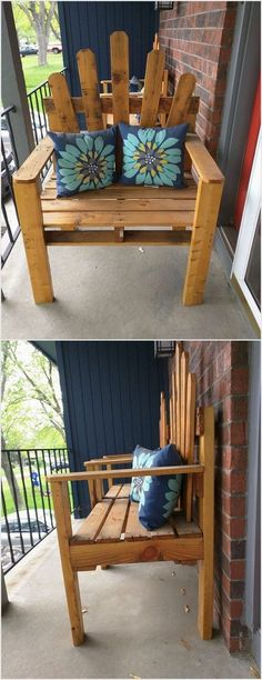 If you have a small balcony outside your home then don't prefer keeping it simple. You should favor adding it with the installation of some creative piece of the wood pallet chair into it. Apart from the chair, you can even think about the settlement of the wood pallet benches for a cool effect.