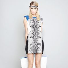 Serpent Print Panelled Dress with Shoulder Detail.   Shop online now: www.shakuhachi.net  Questions? Email: admin@shakuhachi.net