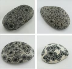 """Pierres Graphiques"" by Yoran Morvant - drawings on stones"