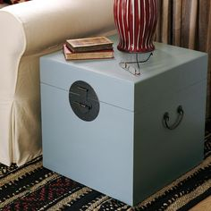 Chinese Wooden Trunk, Square - Retro Blue