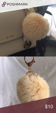 Cream color fur keychain Super cute and super soft fur keychain (fake fur) brand new comes in plastic bag Michael Kors Accessories Key & Card Holders