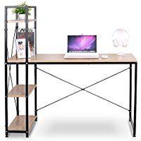 WOLTU Home Office Computer Corner Desk Wooden and Metal Laptop Table 4 Tiers Bookshelves woodlook