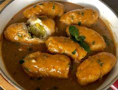 Roladki drobiowe z kremowym nadzieniem porowym - Blog z apetytem Baked Potato, Shrimp, Food And Drink, Potatoes, Blog, Stuffed Peppers, Meat, Chicken, Baking